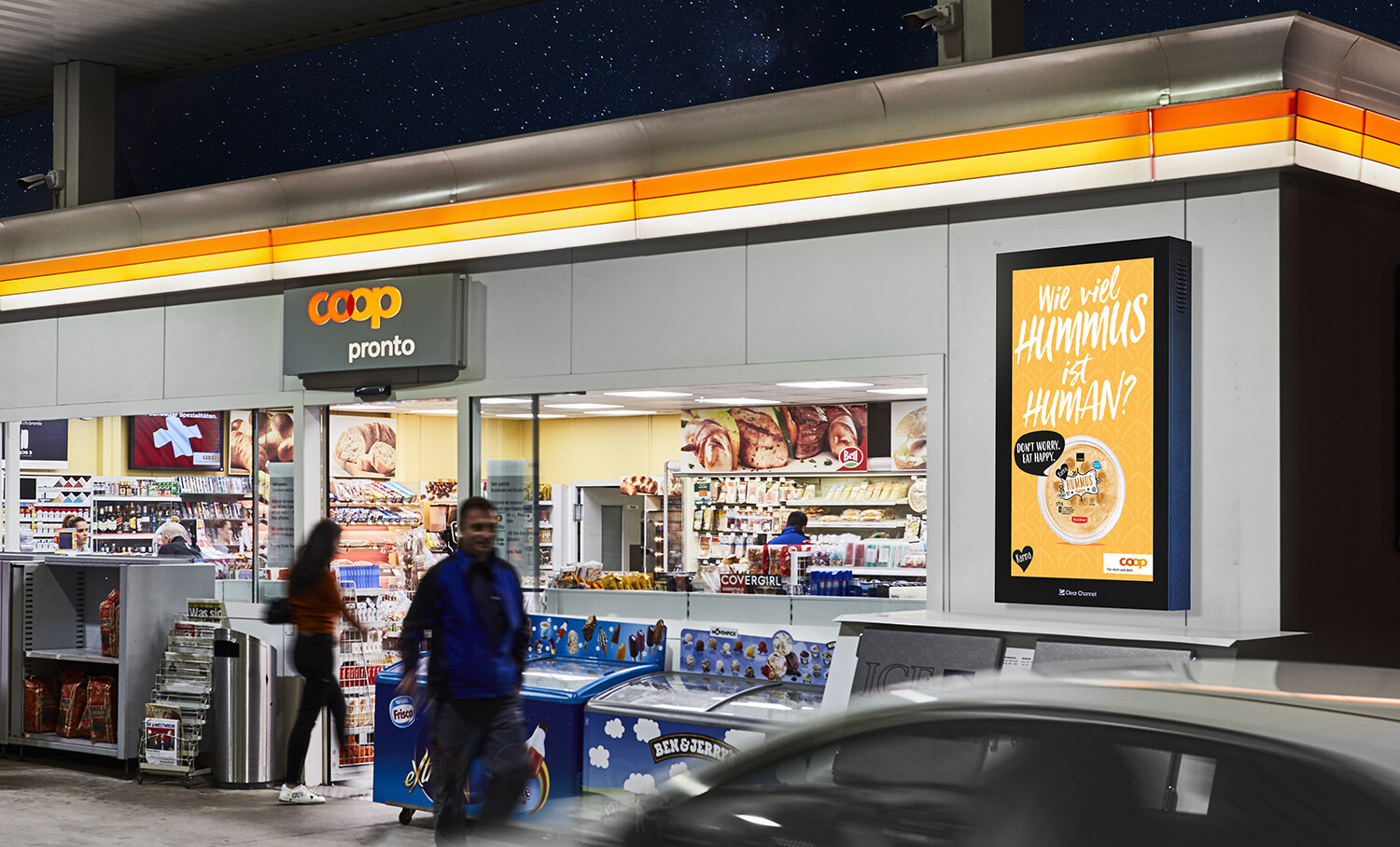 Digital Convenience Network –  Digital advertising on screen in the Coop Pronto shop and filling stations - Increase sales at the POS with poster - High reach, flexibility, dynamic control and motif adaptation