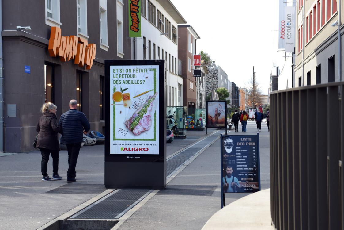 Manifesti in strada e in città - Pubblicità digitale su schermo in luoghi altamente frequentati - Raggiungere il gruppo target con i manifesti - Alta portata, flessibilità, controllo dinamico