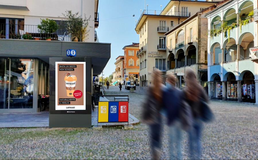 Plakat Piazza Grande Locarno - Digitale Werbung auf Screen im Zentrum von Locarno – mit Plakat kaufkräftige Zielgruppe erreichen – Branding für Luxusprodukte,  hohe Reichweite, Flexibilität, dynamische Aussteuerung