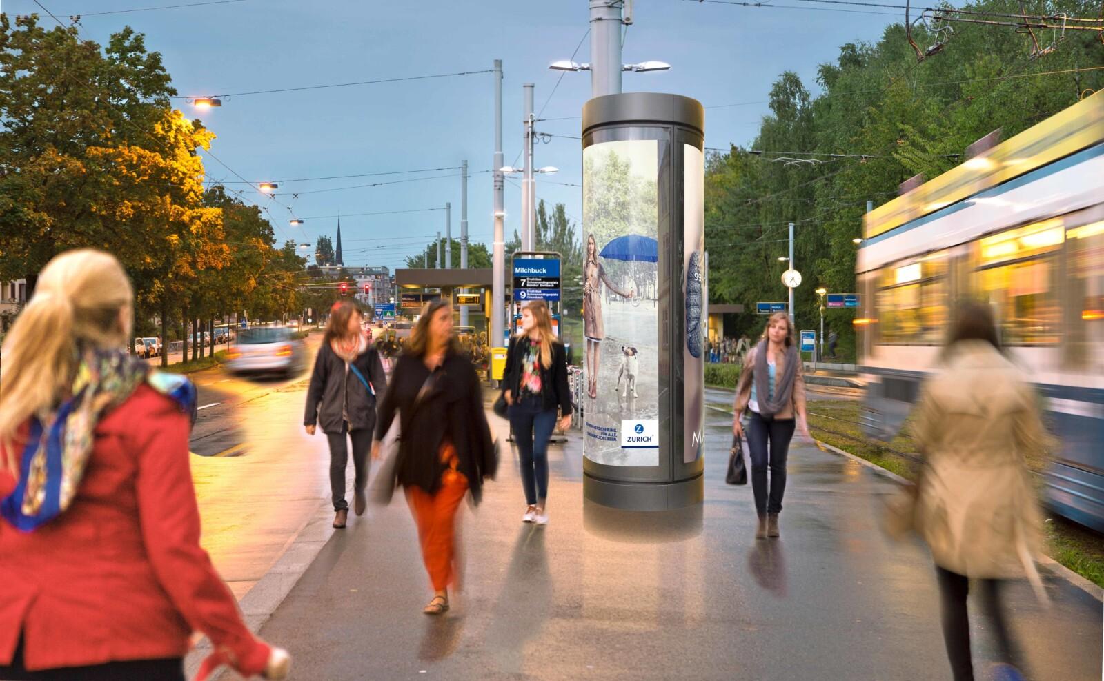 Werben mit Plakat - Leuchdrehsäule an der Milchbuckstrasse in Zürich